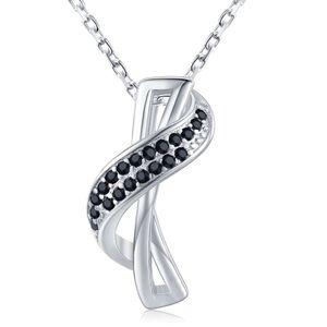 Black Spinal & Sterling Silver Necklace 10500